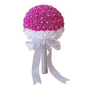 YHCWJZP 1 Bouquet Handmade Rhinestone Inlaid Artificial Flowers Bride Wedding Props - Rose Red 59
