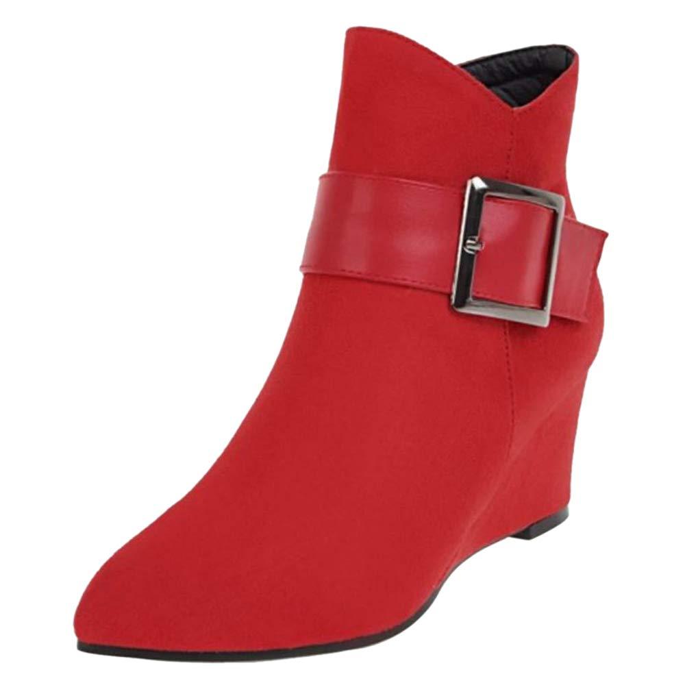 TAOFFEN Chaussures Femme TAOFFEN Bottines Compensé Mode Femme Compensé Rouge 6ecbffd - reprogrammed.space