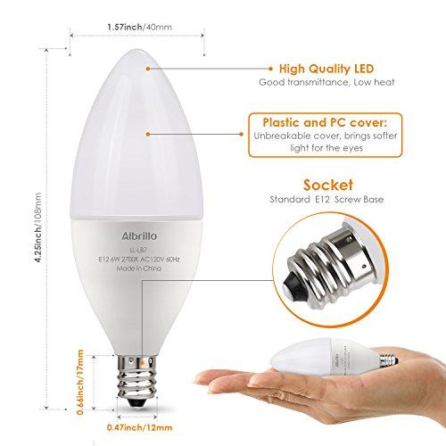 albrillo e12 led bulb candelabra light bulbs 6w 60 watt equivalent warm white 2700k chandelier. Black Bedroom Furniture Sets. Home Design Ideas