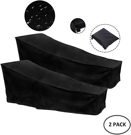 Ann-Fundas Muebles Jardin Funda Impermeable for Tumbona de Jardín o Patio Tejido Oxford Carcasa Protectora Transpirable for Tumbona Funda (Negro) (2PCS) (Color : 420D, Size : 210x75x80/40CM): Amazon.es: Hogar