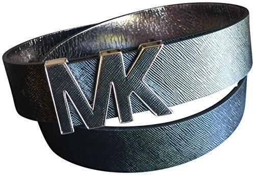 Michael Kors Women's Mk Saffiano Leather Wide Belt Black Medium (Belts Kors Michael Women)