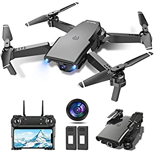 tech rc Drone avec Caméra 1080P HD WiFi FPV Télécommande WiFi APP, Drone Positionnement de Flux Optique, Voler par…