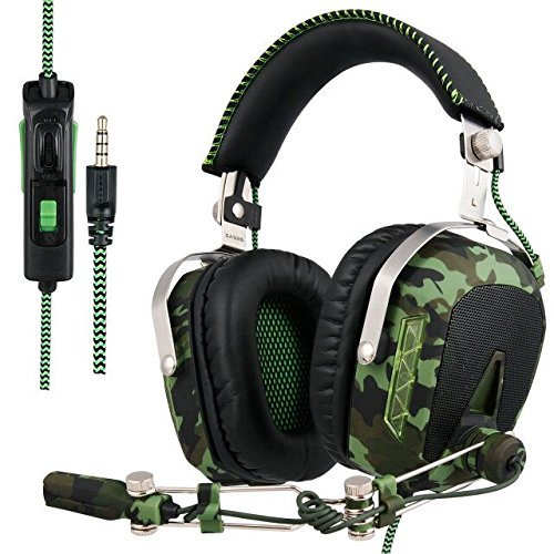 GW SADES SA926T Stereo Gaming Headset for PS4 New Xbox One, Bass Over-Ear Headphones with Microphone and In-line Volume Control for Laptop, PC, Mac, iPad, Computer, Smart phones(Camouflage) ()