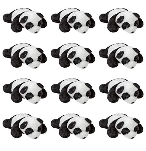 Wildlife Tree (12 Pack) Panda Mini 4 Inch Small Stuffed Animals, Bulk