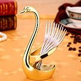 UNAKIM--Stainless Steel Fruit Without Fork Spoon Swan Base Coffee teaspoon Cutlery Rack