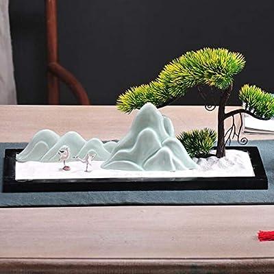 Laogg Jardin Zen Chino Zen Ornamentos Xuanguan Micro-Paisaje Mesa de Arena Acogedor de Pino Oficina Salón Sala de Estar TV Gabinete Rockery Bonsai: Amazon.es: Hogar