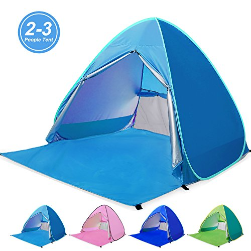 Kids Beach Cabana - Amagoing Automatic Pop Up Beach Tent 2-3 Person Cabana Sun Shelter Great for Outdoor Activities and Beach Traveling (Blue)