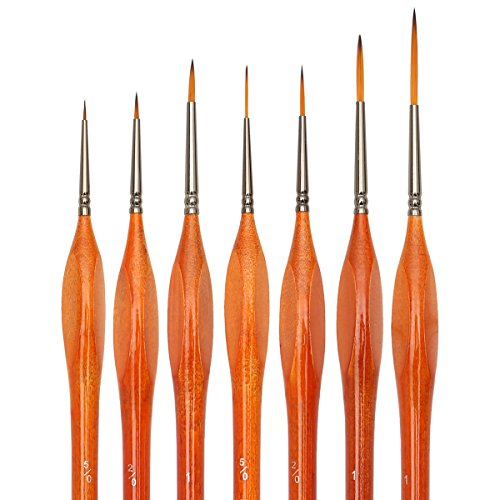 Detail Paint Brush Set,Synthetic Kolinsky Red Sable Hair, Triangular Wooden Handle Brushes for Art Painting, Oil, Watercolor, Miniatures, Acrylic, Nail Art & Models - 7 Sizes (Detail Paint Roller compare prices)
