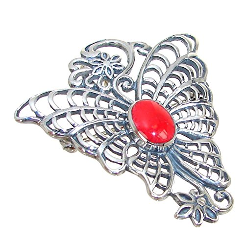 (Red Coral Sterling Silver Pendant Brooch)