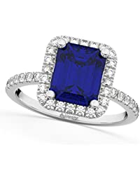 14k Gold (3.32ct) Emerald Cut Blue Sapphire with Diamonds Engagement Ring