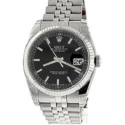 Rolex Datejust 36mm Black Index Dial Jubilee Bracelet Fluted Bezel Men's Watch 116234