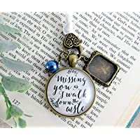 Bouquet Charm Missing You As I Walk Down Aisle Wedding Memorial Jewelry Bridal Pendant Remembrance Photo Frame Blue Bead