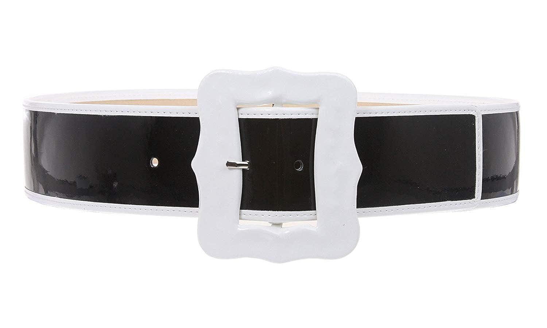 MONIQUE Women Western Buckle High Waist Patent Fashion Plain Leather 54mm Belt