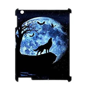 Wolf and Moon Personalized 3D Case for Ipad 2,3,4, 3D Customized Wolf and Moon Case