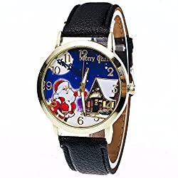 Women Quartz Wrist Watch,Leather Analog Watch Christmas Elderly Pattern ODGear NW122 (Black)
