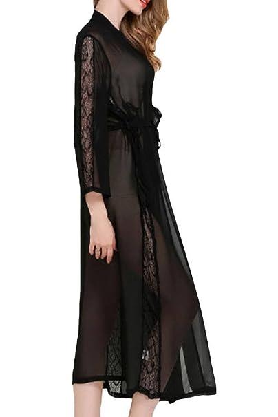 Asherbaby Womens Sexy Sheer Bridal Sleepwear Lace Lingerie Long Kimono  Robes Black 3a8374195