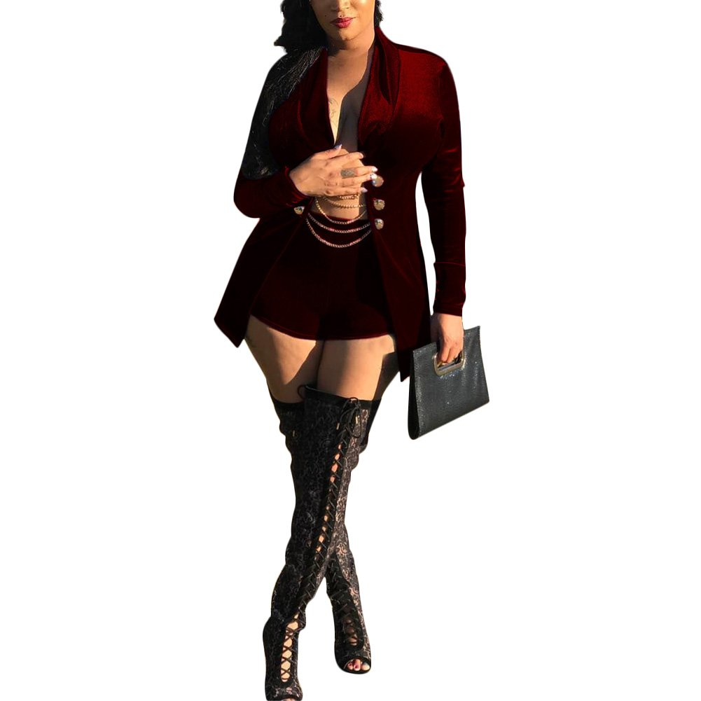 Kafiloe Womens Two Piece Outfits Suit Set Sexy Velvet Slim Fit Blazer Jacket and Shorts Burgundy XL