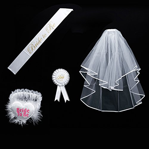Price comparison product image Bride to be Decoration Set for Bachelorette Party Supply(White Double Ribbon Edge Center Cascade Bridal Wedding Veil with Comb,Bride To Be Satin Sash,Rosette Badge and Garter)