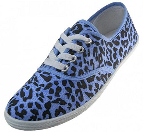 Easy USA Damen Canvas Schnürschuh mit gepolsterter Einlegesohle Leopardblau