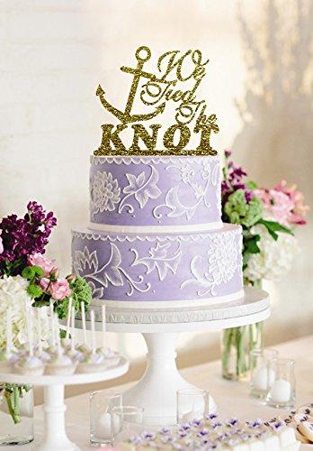 Amazon.com: Glitter Gold Wedding Cake Topper Anchor Design Wedding on