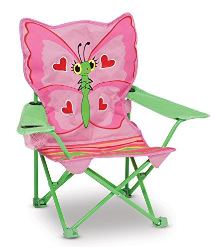 Melissa & Doug Kids Sunny Patch Bella Pink Green Butterfly Outdoor Folding Patio and Camping Collapsible Chair
