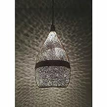 B249 Silver Plated Steel Filigrain Oriental Hanging Cone Pierced Lampshade