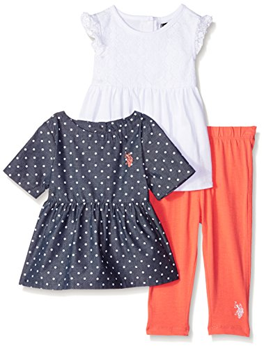 (U.S. Polo Assn. Girls' Printed Chambray, Baby Doll T-Shirt and Legging, White 18M)