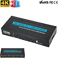 Luniquz HDMI Switch Ultra HD 4K 3D High Speed 6 Ports with IR Wireless Remote Control,Automatic Switcher