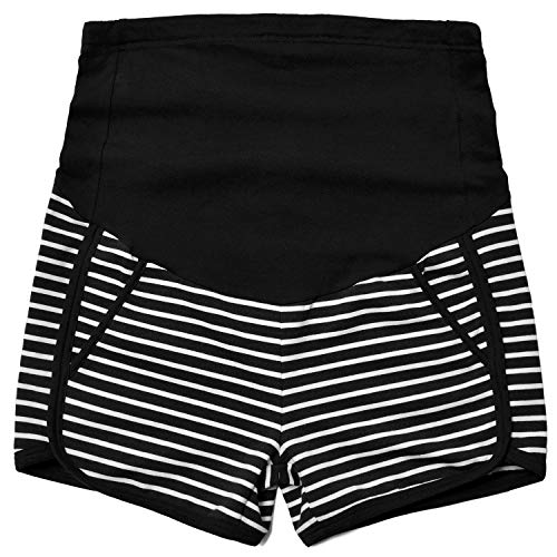(Maternity Over The Belly Full Panel Summer Running Shorts, Black/White Stripe, L)