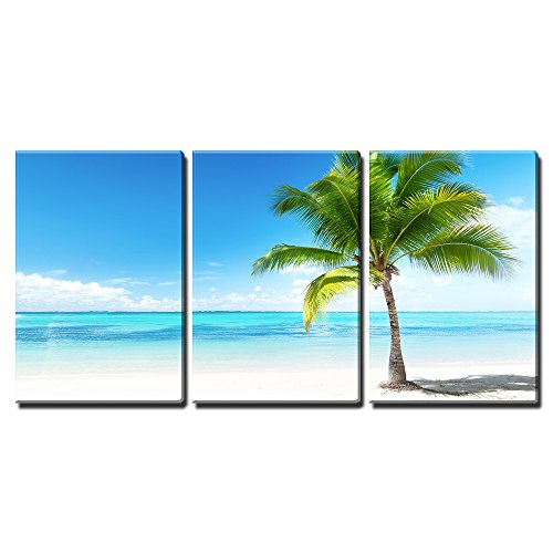 """Wall26 - 3 Piece Canvas Wall Art - Palm and Beach - Modern Home Decor Stretched and Framed Ready to Hang - 24\""""x36\""""x3 Panels"""