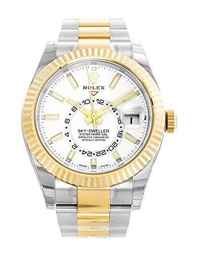 Rolex Sky-Dweller 42mm Stainless Steel & 18K Yellow Gold White Dial Watch 326933 Rolex Screwdown Crown