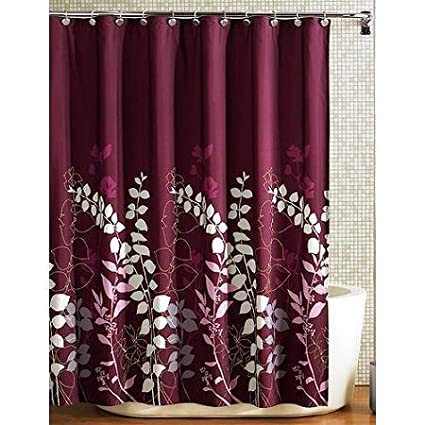Ashdawn Bathroom FABRIC Shower Curtain Burgundy Wine Gray Lavender Floral Leaf 70x72 Excellent Quality NEW
