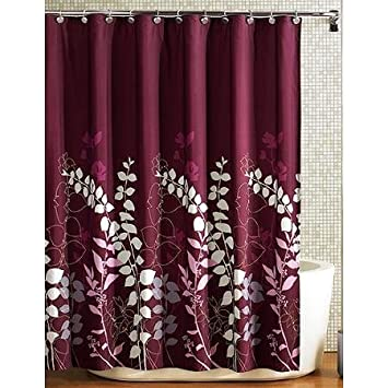 wine colored shower curtain. Ashdawn Bathroom FABRIC Shower Curtain Burgundy Wine Gray Lavender Floral  Leaf 70x72 Excellent Quality NEW Amazon com
