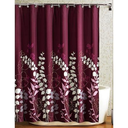 Ashdawn Bathroom FABRIC Shower Curtain Burgundy Wine Gray Lavender Floral Leaf 70x72 Excellent Quality NEW By