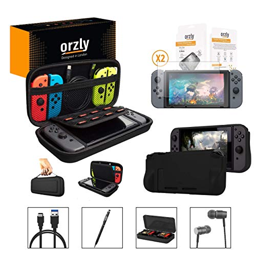 Orzly Switch Accessories Bundle, Black Orzly Carry Case for Nintendo Switch Console, Tempered Glass Screen Protectors, USB Charging Cable, Switch Games Case, Comfort Grip Case, Headphones Black