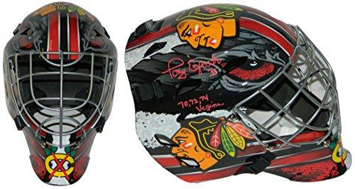 Tony Esposito Signed Chicago Blackhawks Franklin Replica Hockey Goalie Mask w/70,72,74 Vezina