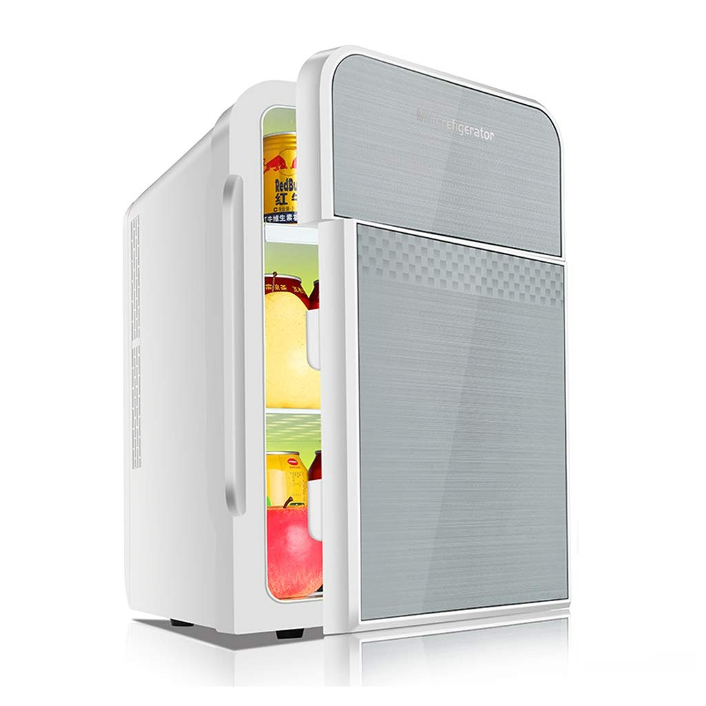 OLLY- 22L Car Refrigerator - Mini Fridge Dual-core Refrigeration Double Door Smart Version Household Small-Scale Cooler (Color : Silver)