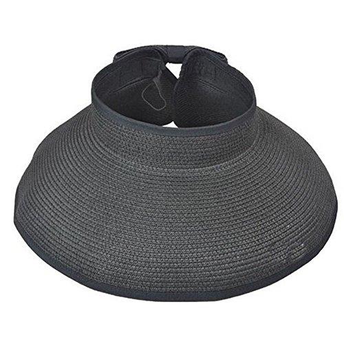 JUJUMALL-Fashion Foldable Adjustable Roll Up Wide Brim Straw Bow Hat Sun Visor Floppy - Mall Square Of Fashion Map