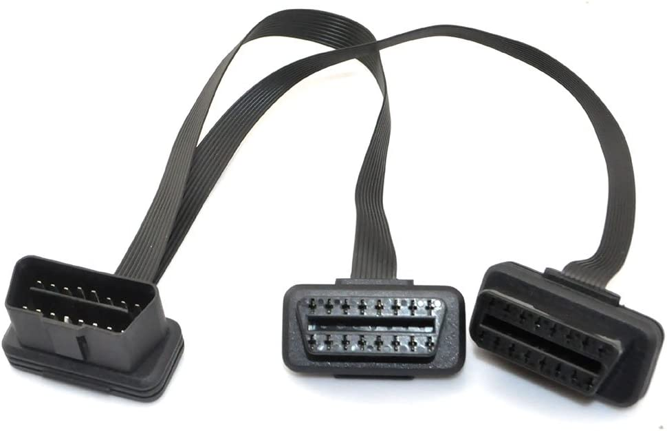 iKKEGOL Ultra Low Profile Left or Right Angle OBD2//OBDII Y Splitter Flat Ribbon Cable 1Feet//30cm 1x Male and 2X Female J1962 Ports