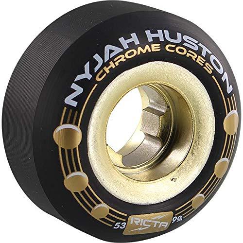 Ricta Wheels Nyjah Huston Chrome Core Holes Black/Gold Skateboard Wheels - 53mm 101a (Set of - Gold Skateboard Wheels