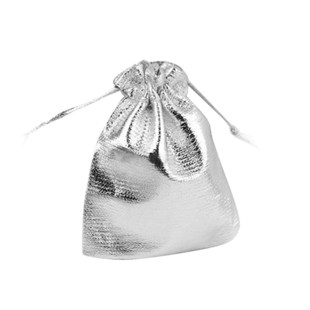 25 Stücke Kordelzug Geschenksäckchen Organzabeutel Candy Lichtertüten Silber