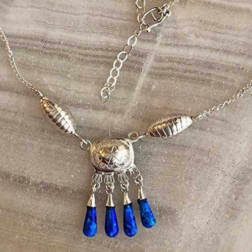 Collar Concha Tortuga Plata cascabeles ópalo Azul Joyería mujer plata .925 mexicana