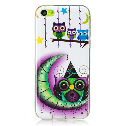 Coque iPhone 5C, IJIA Ultra-mince Transparent Noctilucent Lune Hibou TPU Doux Silicone Bumper Case Cover Shell Skin Housse Etui pour Apple iPhone 5C + 24K Or Autocollant