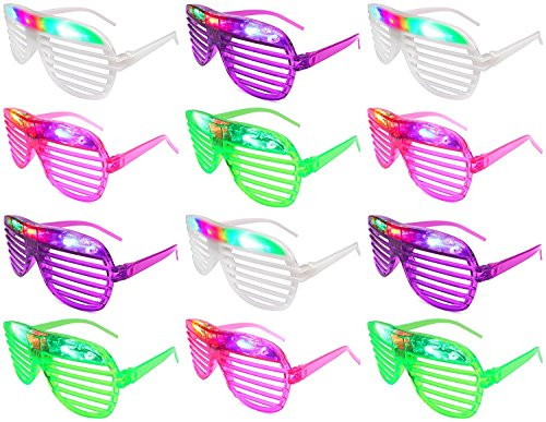 [12 Piece High Quality Slotted & Shutter Shades Light Up Unisex Flashing Glasses For Adults & Children (5 Assorted Colors: White, Purple, Green, Blue, & Pink)- With Push On/Off Button for All] (Father And Daughter Halloween Costume Ideas)
