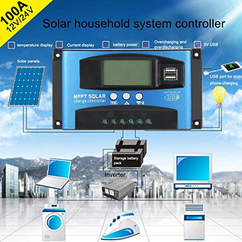 Leegoal Solar Charger Controller, 40/50/60/100A MPPT Solar Panel Battery Intelligent Regulator Charge Controller 12V/24V with Dual USB Port and LCD Display