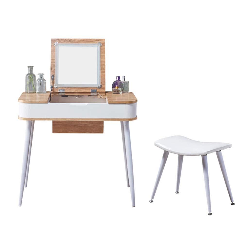 Yuanjiashop Schminktisch Multifunktionales Schlafzimmer-Ankleidetisch, Schminktisch-Set, inklusive Makeup-Hocker und Spiegel, Multifunktions-Schreibtisch (weiß) Kosmetiktisch (Color : B, Größe : M)