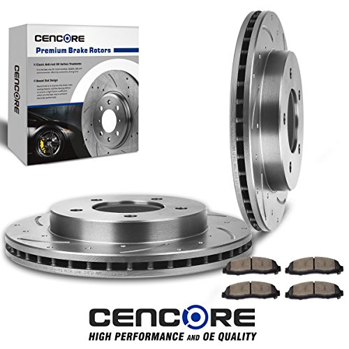 (CENCORE (Front Kit) Combo Brake Kit with 2pcs Drilled Slotted Brake Rotors and 4pcs Brake Ceramic Pads LD27307 Compatible with 2000 2001 2002 2003 2004 Ford F150 4WD 5 Lug)