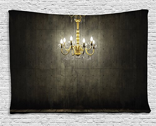 Gothic Style Chandelier (Ambesonne Grunge Home Decor , Classic Golden Chandelier in a Dark Gothic Wooden Room Vintage Style Room Picture, Bedroom Living Room Dorm Wall Hanging Tapestry, 80 X 60 Inches, Golden and Olive Green)
