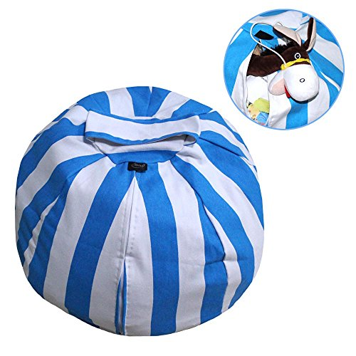 Stuffed Animal Storage Bean Bag Chair, Premium Canvas, Space Saver Bags for Extra Toys, Blankets, Covers, Towels and Clothes (32 inches, Blue)