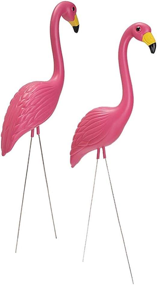 Flamante rosa decoración de jardín exterior – 1 par de figuras ...